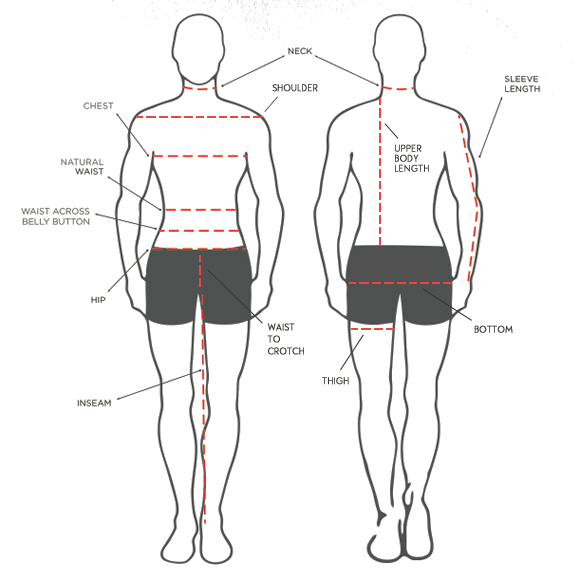 size info how to measure body men