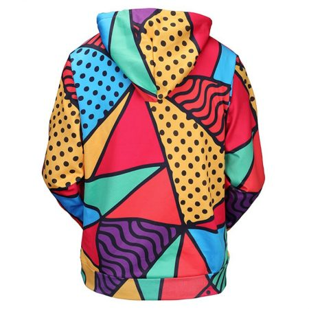 Colorful Triangles Hoodie Back Men Rave Edm Outfits Clothing Festival Wear