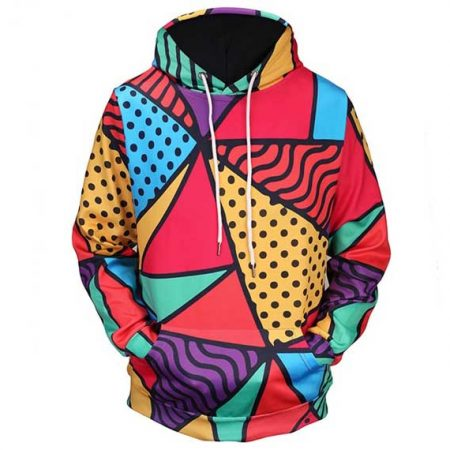 Colorful Triangles Hoodie Front Men Rave Edm Outfits Clothing Festival Wear