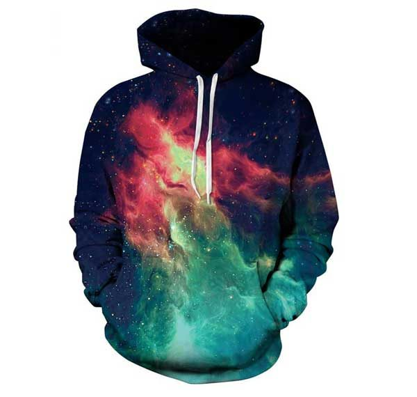 Red Nebula Hoodie Front Men Rave Edm Outfits Clothing Festival Wear
