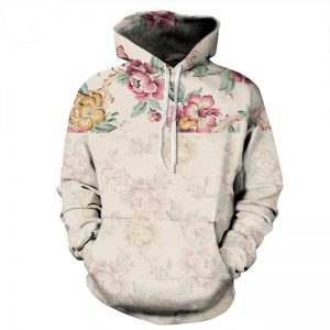 Retro Roses Hoodie Front Men Rave Edm Outfits Clothing Festival Wear