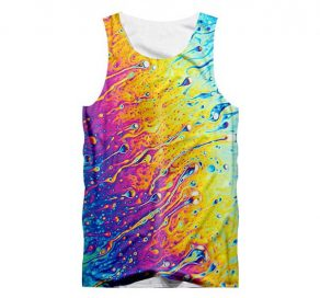 Melted Colors Tank Top Front Men Rave Edm Outfits Clothing Festival Wear