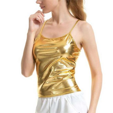 Shiny Golden Tank Top Women Rave Edm Outfits Clothing Festival Wear