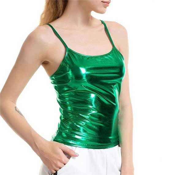 Shiny Green Tank Top Women Rave Edm Outfits Clothing Festival Wear