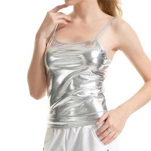 Shiny Silver Tank Top Women Rave Edm Outfits Clothing Festival Wear