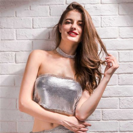 Silver Sequin Crop Top 4 Women Rave Edm Outfits Clothing Festival Wear Sexy Deep V-Neck Halter Sparkle Glitter Camisole Backless Night Clubwear Tank Top
