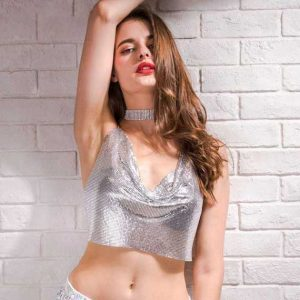 Silver Sequin Tank Top 1 Women Rave Edm Outfits Clothing Festival Wear Sexy Deep V-Neck Halter Sparkle Glitter Camisole Backless Night Clubwear Crop Top