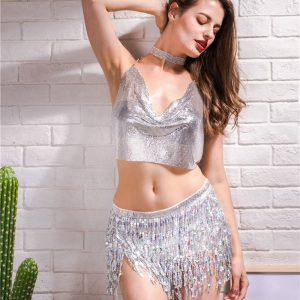 Silver Sequin Tank Top 4 Women Rave Edm Outfits Clothing Festival Wear Sexy Deep V-Neck Halter Sparkle Glitter Camisole Backless Night Clubwear Crop Top