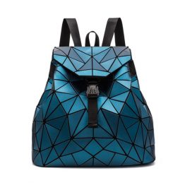 Geometric Triangle Backpack Women Rave Edm Outfits Clothing Festival Wear Blue