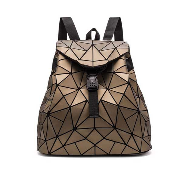 Geometric Triangle Backpack Women Rave Edm Outfits Clothing Festival Wear Brown