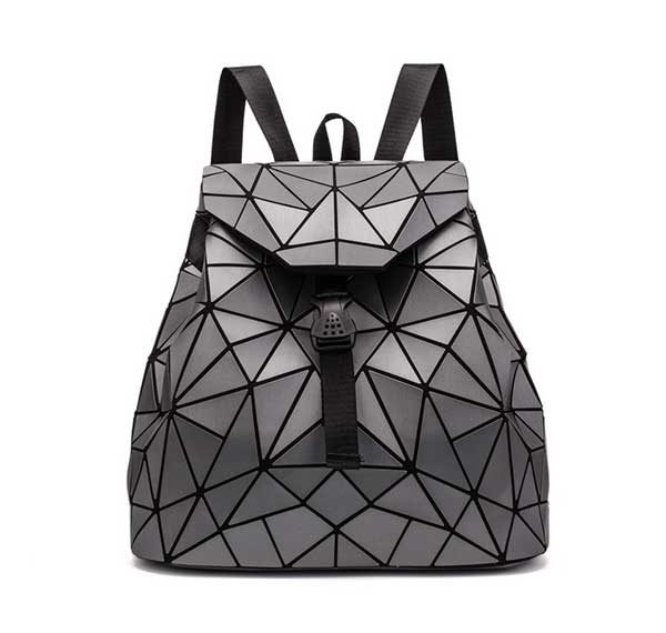 Geometric Triangle Backpack Women Rave Edm Outfits Clothing Festival Wear Dark Grey