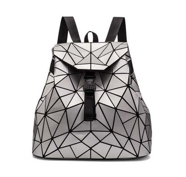 Geometric Triangle Backpack Women Rave Edm Outfits Clothing Festival Wear Silver