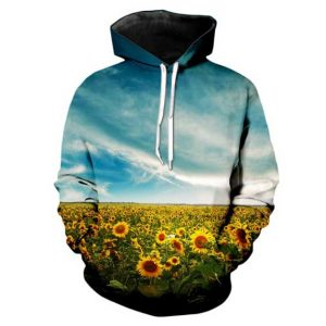 Sunflower Field Hoodie Front Men Rave Edm Outfits Clothing Festival Wear