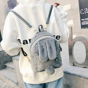 Rabbit Faux Fur Backpack Women Rave Edm Outfits Clothing Festival Wear Grey