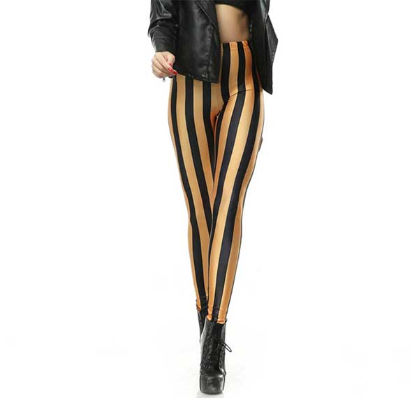 Black nd Gold Leggings-Rave-Clothing-Edm-Outfits-Festival-Party-Wear Front View