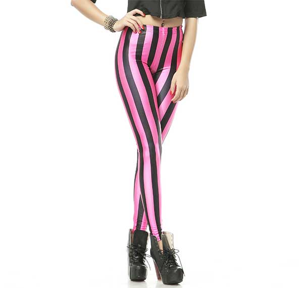 Black nd Pink Stripes Leggings Rave-Clothing-Edm-Outfits-Festival-Party-Wear Front View 2