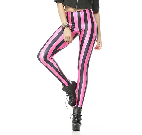 Black nd Pink Stripes Leggings Rave-Clothing-Edm-Outfits-Festival-Party-Wear Front View 3