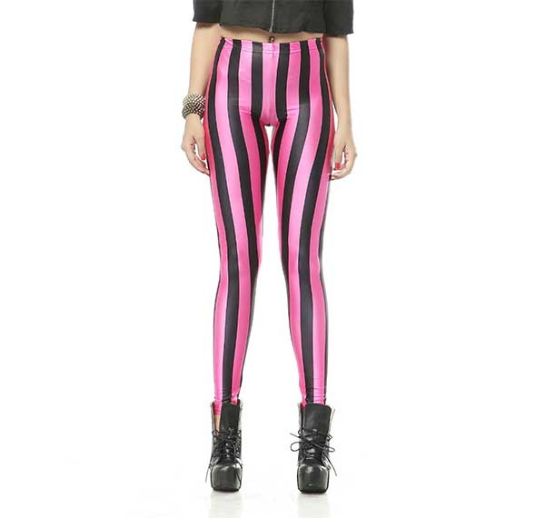 Black nd Pink Stripes Leggings Rave-Clothing-Edm-Outfits-Festival-Party-Wear Front View