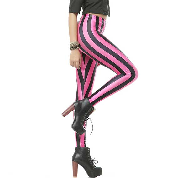 Black nd Pink Stripes Leggings Rave-Clothing-Edm-Outfits-Festival-Party-Wear Side View