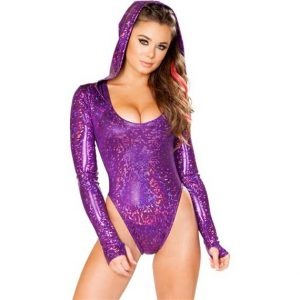 Holographic Hooded Bodysuit Rave Clothing Edm Outfits Festival Party Wear Purple