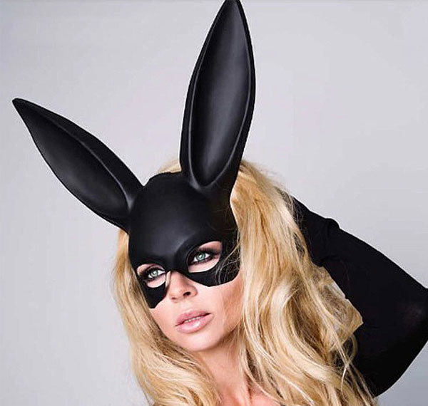 Rabbit Long Ears Mask Wet Look Bunny Cosplay Rave Clothing Edm Outfits Festival Party Wear